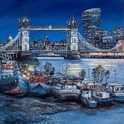 Evening Glow, London by Phillip Bissell -  sized 35x35 inches. Available from Whitewall Galleries
